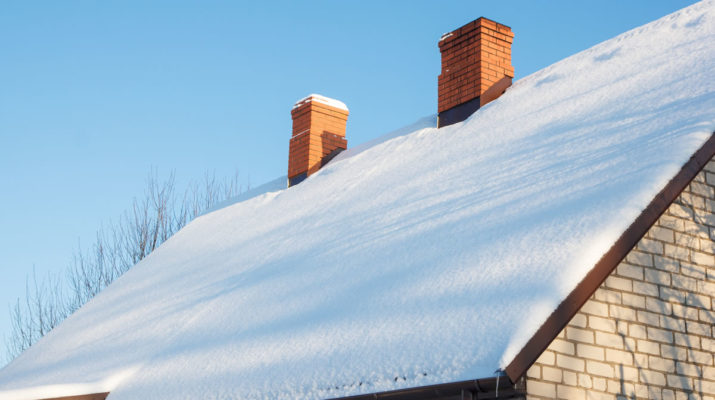 Snow on Roof of Southgate Michigan Home